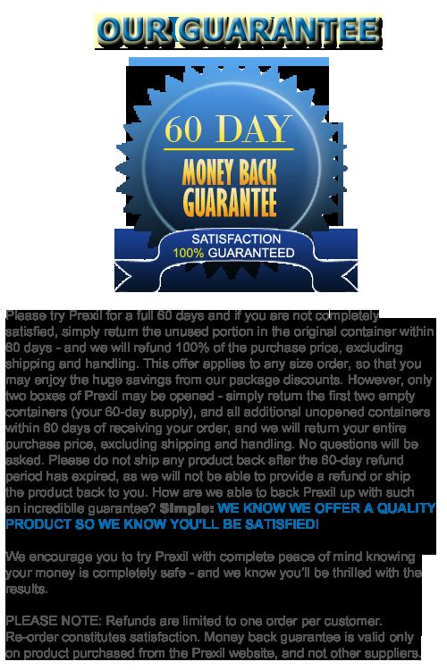 the prexil money-back guarantee